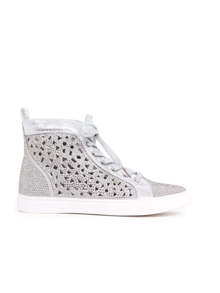 Lady Couture - Embellished Metallic Lasercut High-Top Sneaker