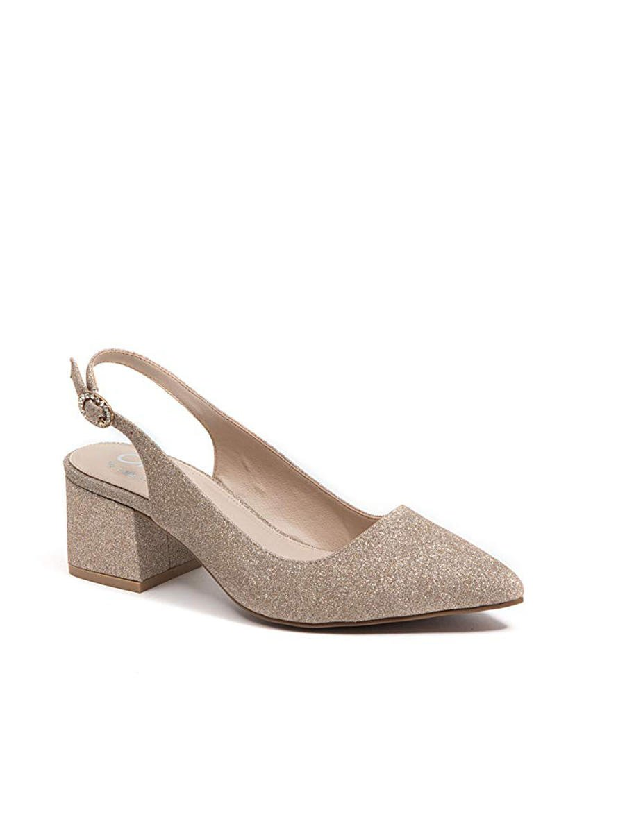 Lady Couture - Glitter Close Toe Block Heel Sling Back