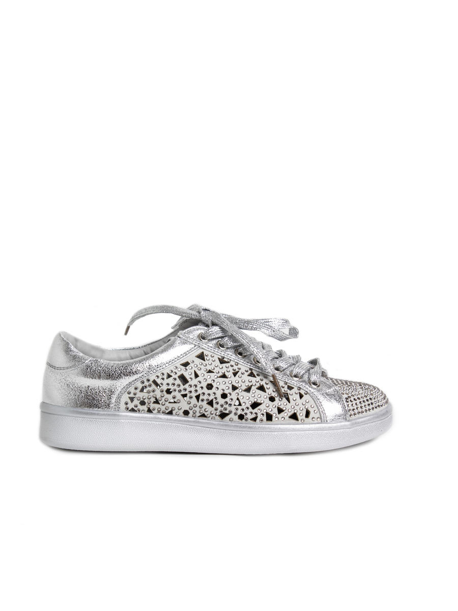 Lady Couture - Lazer Cut Sneakers with Stones