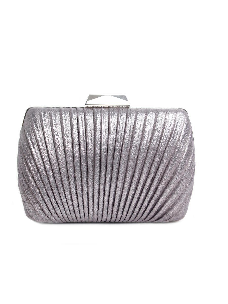 Lady Couture - Pleated Metallic Clutch Bag