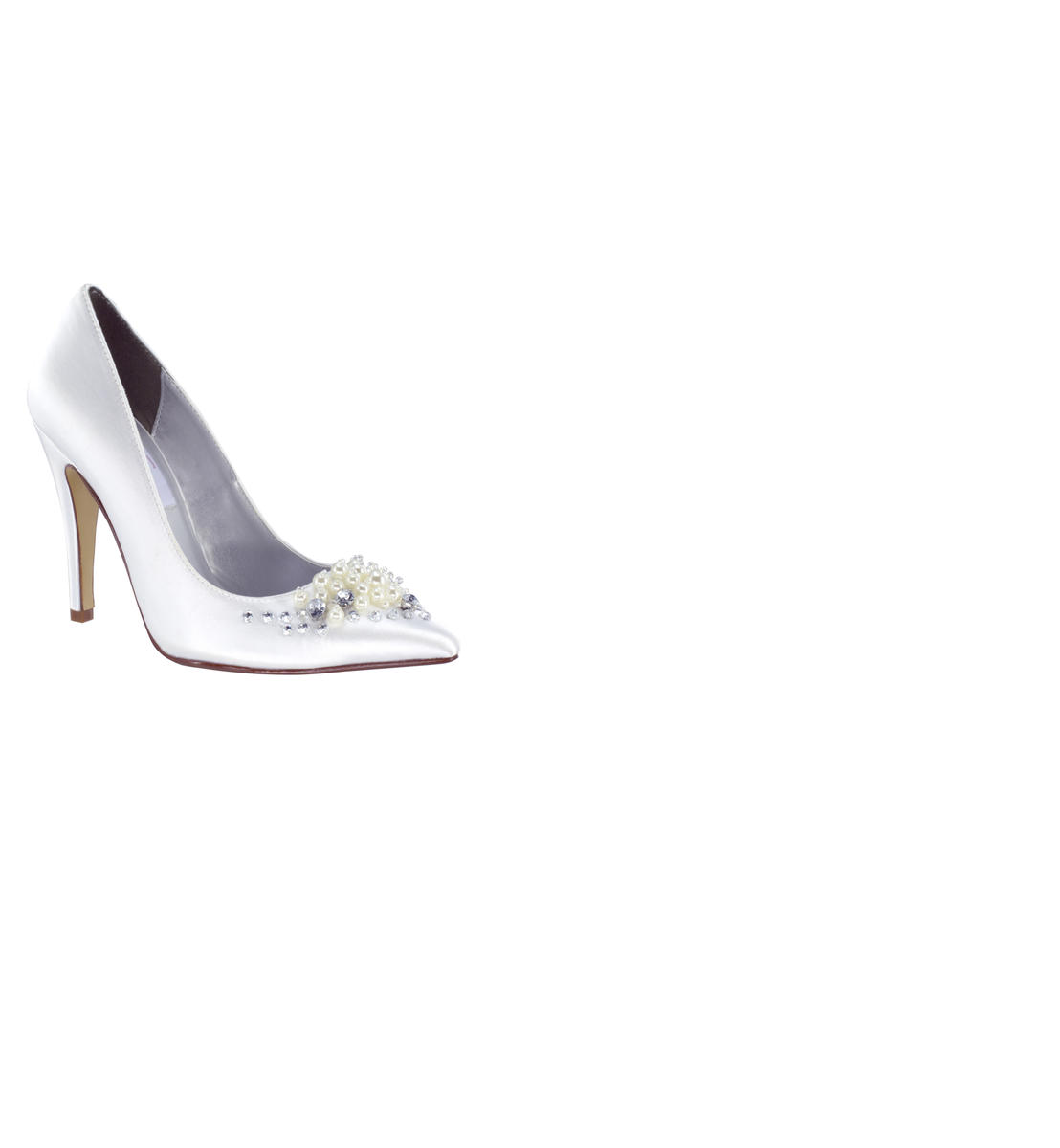 Satin Pointy Pump With Stones and Pearls