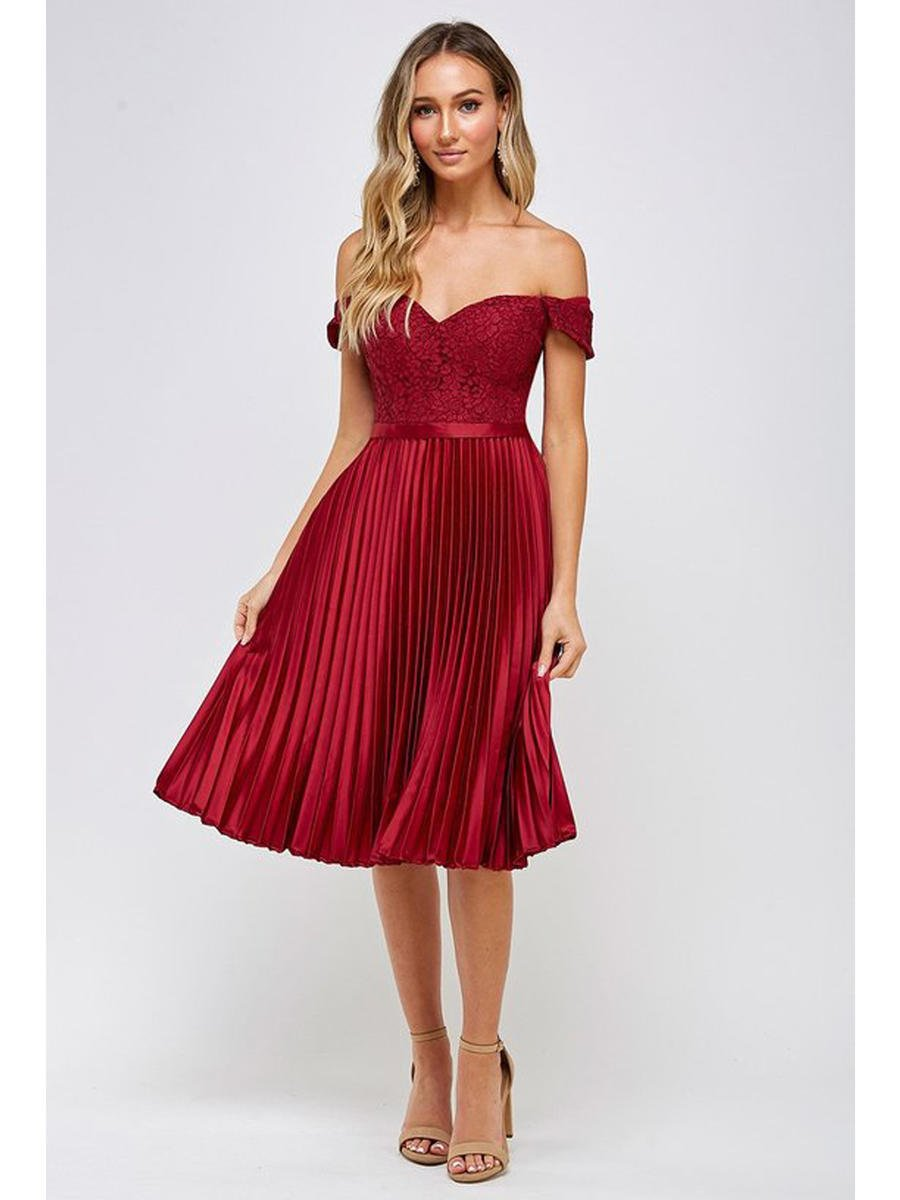 Maniju - Satin Pleat Dress-Lace Off Shoulder