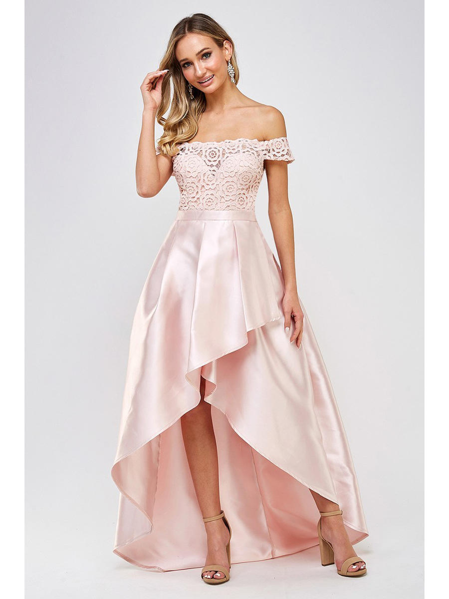 Maniju - Satin High Low Off Shoulder Gown