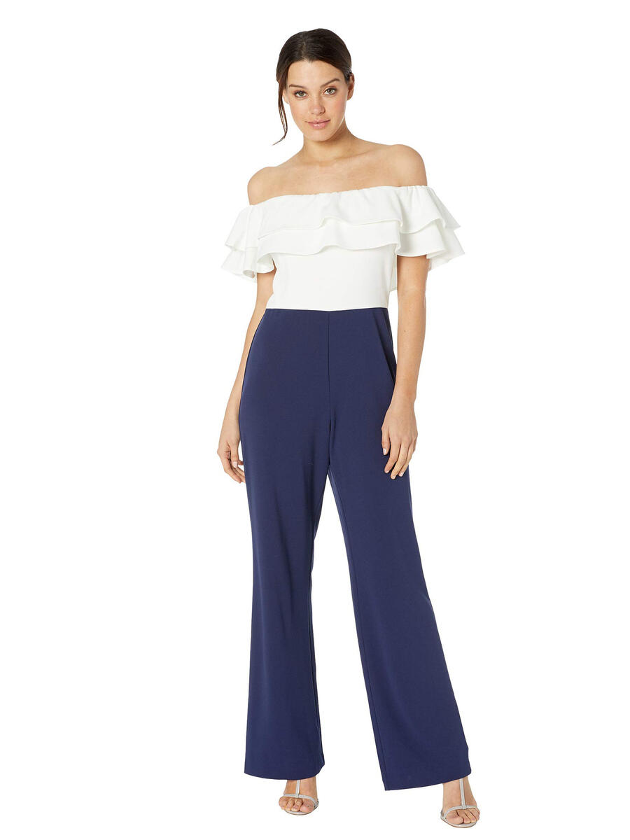 MARINA B - Off-Shoulder Ruffled Bodice jumpsuit