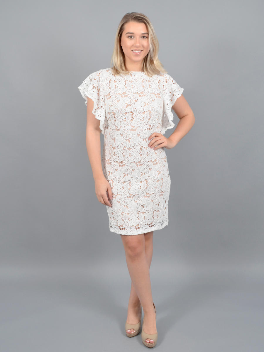 MARINA B - Short Sleeve Embroidered Dress