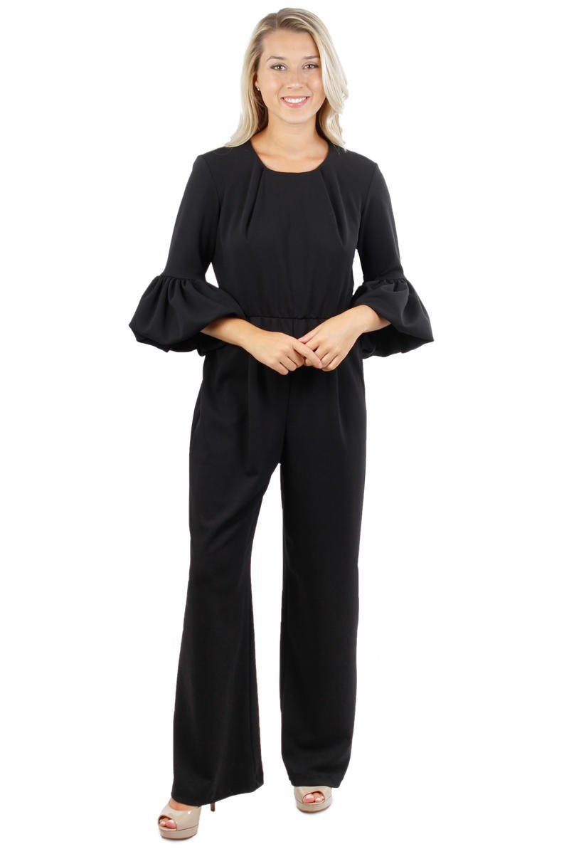 Petite Long Bell Sleeve Jumpsuit