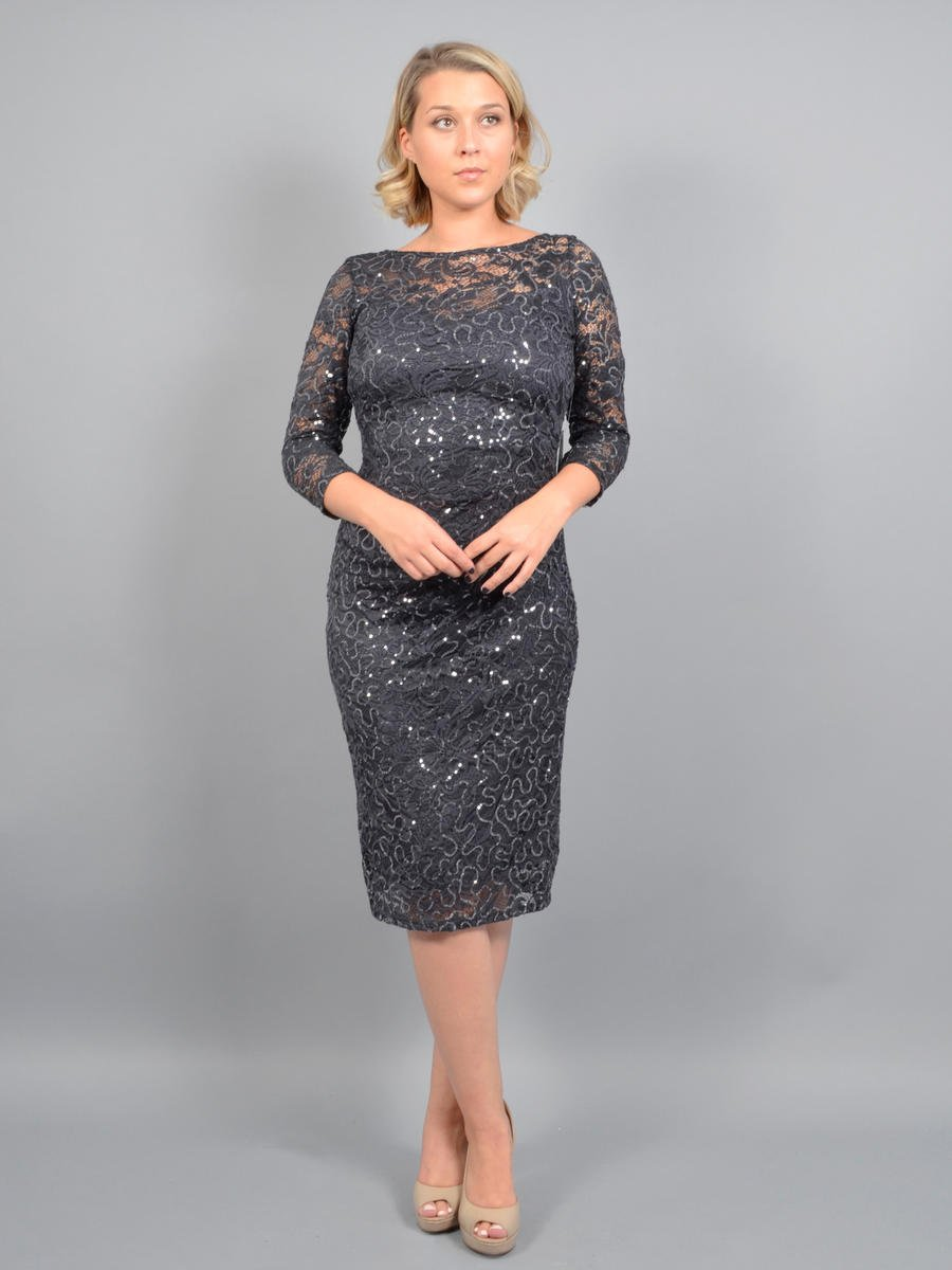MARINA B - 3/4 Sleeve Lace Metallic Dress