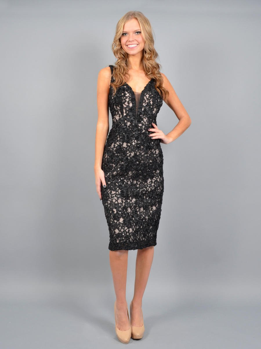 MARINA B - Lace Sequin Dress Tank