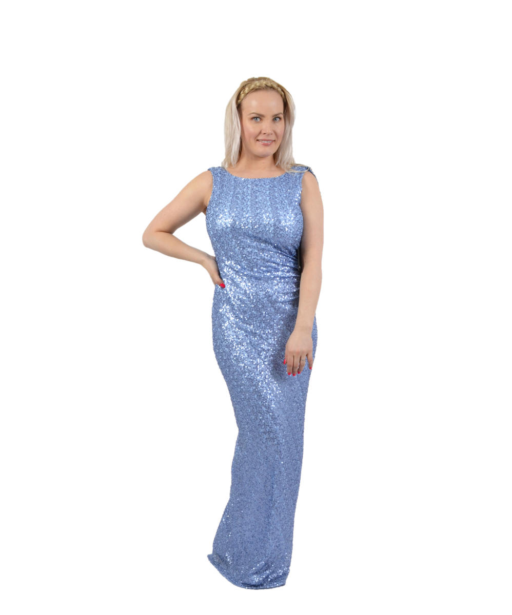 Sequin Gown Draped Back