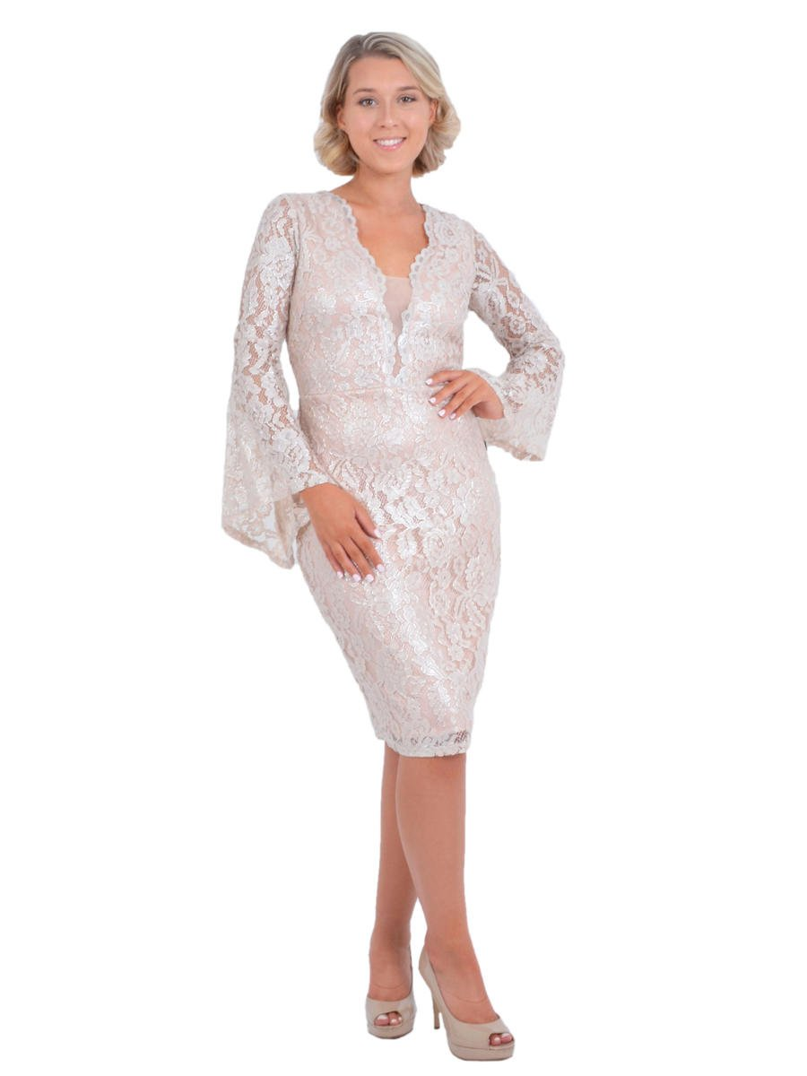 MARINA - Long Bell Sleeve Lace Metallic Dress