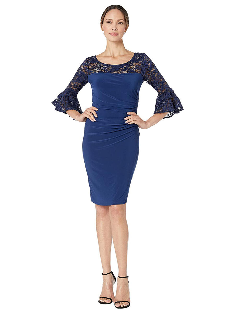 MARINA - Long Bell Sleeve Lace Lycra Sequined Dress