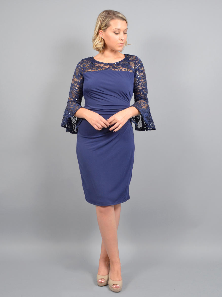 MARINA B - Long Bell Sleeve Lace Lycra Sequined Dress