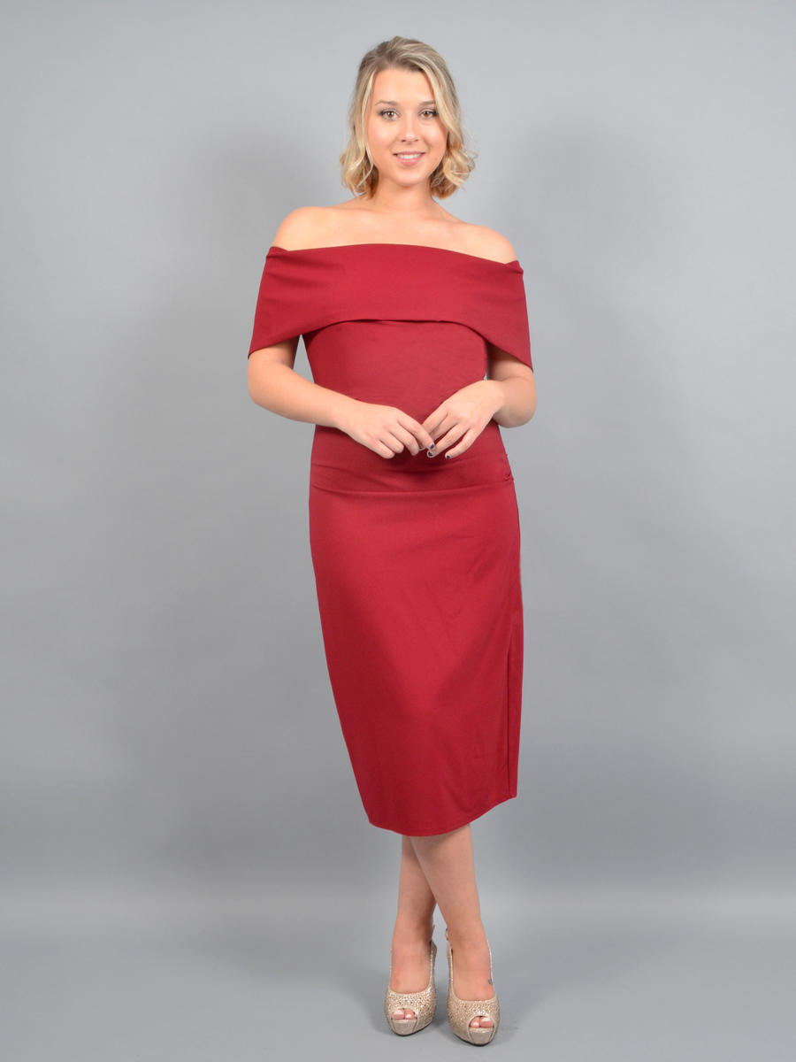 MARINA B - Satin Dress Wrap Waist Off Shoulder