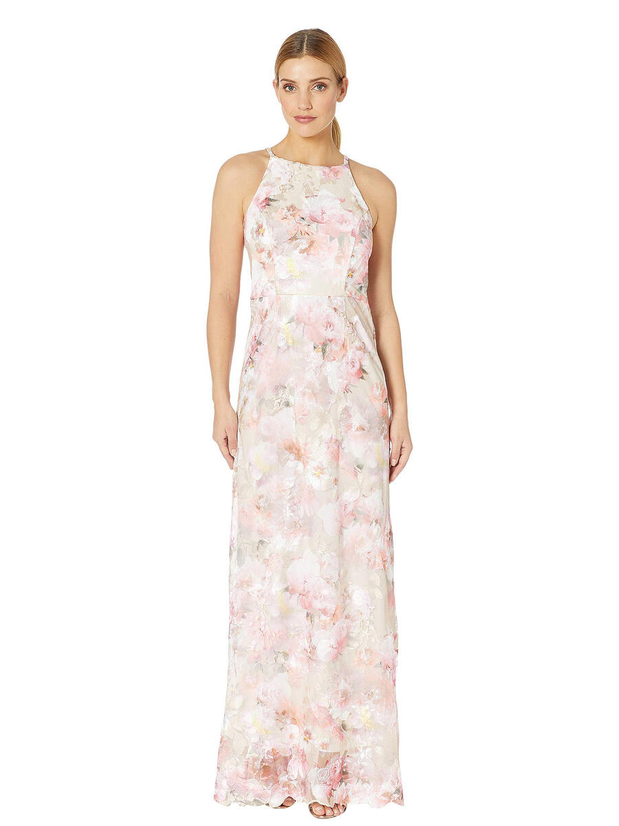 MARINA B - Print Embroidered Gown