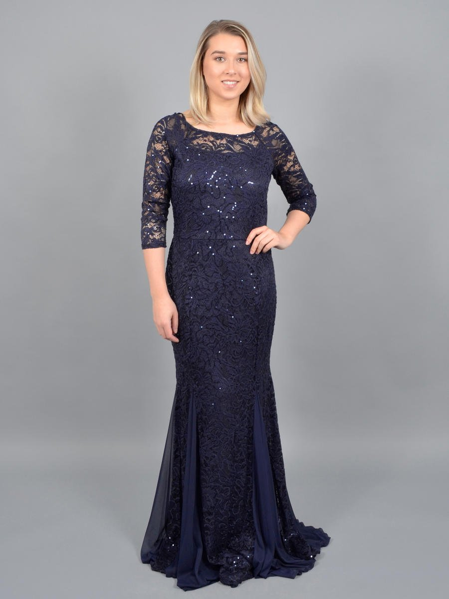 MARINA B - Long Sleeve Metallic Lace Gown