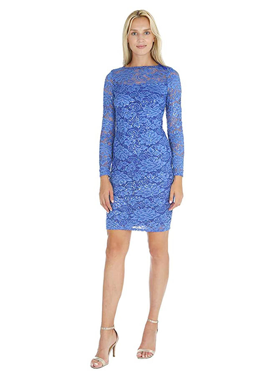 MARINA - Long-Sleeved Sequin & Lace Sheath Dress