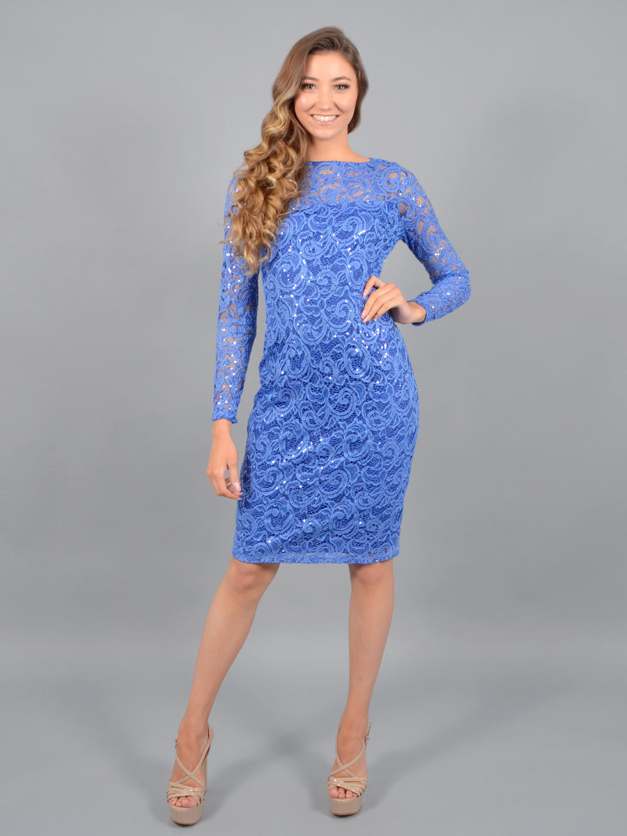 MARINA B - Long-Sleeved Sequin & Lace Sheath Dress