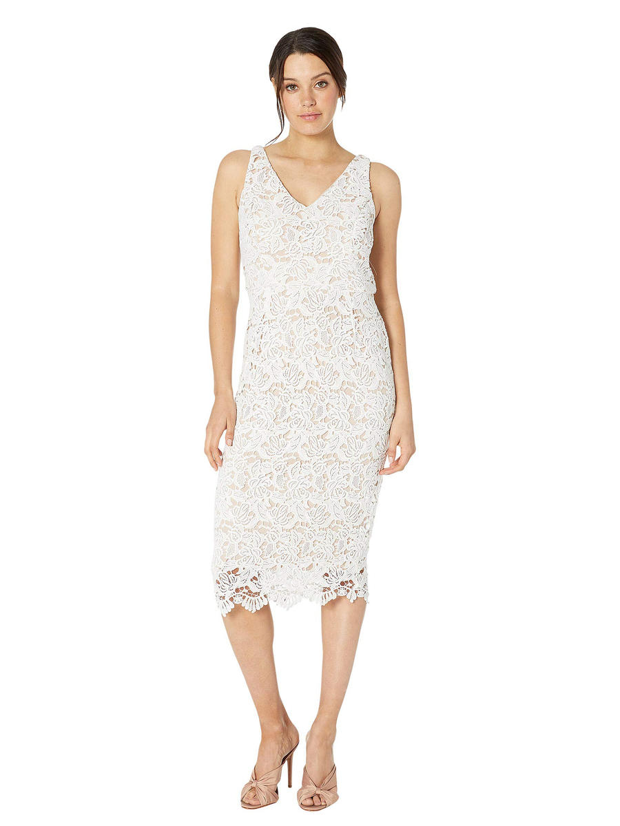 MARINA B - Embroidered Lace Sheath Dress