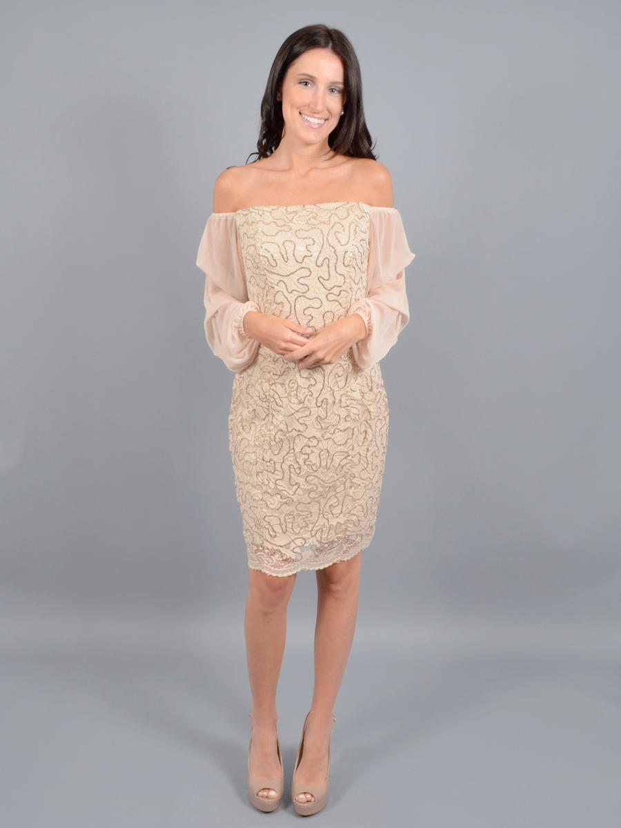 MARINA B - Long Sleeve Metallic Lace Dress