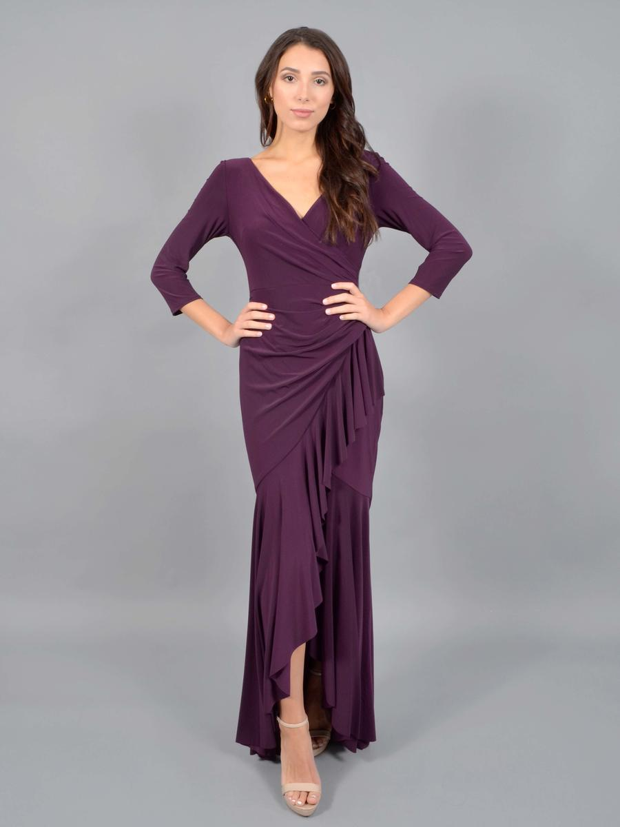 MARINA - V Neck, Half Sleeve Wrapped Jersey Gown