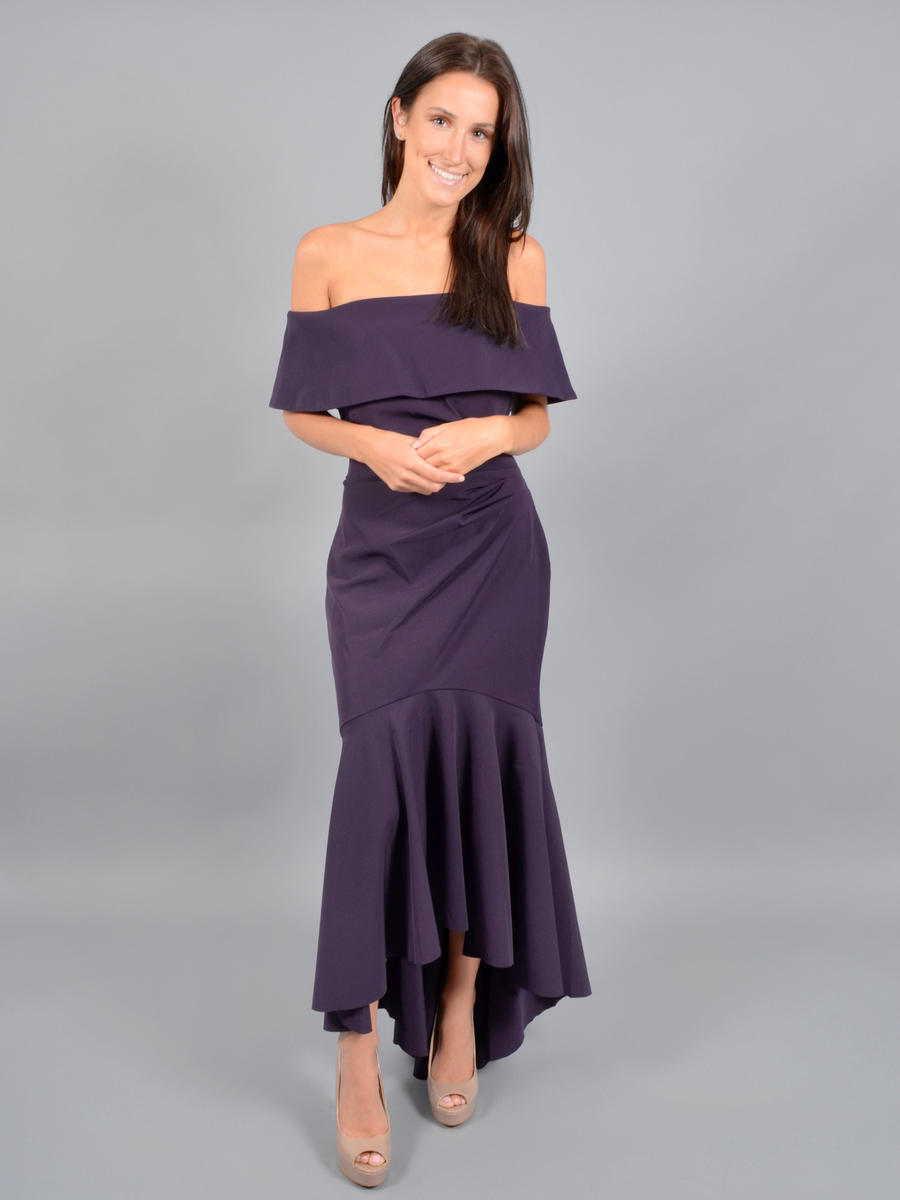 MARINA - Satin High Low Gown Wrap Waist Off Shoulder