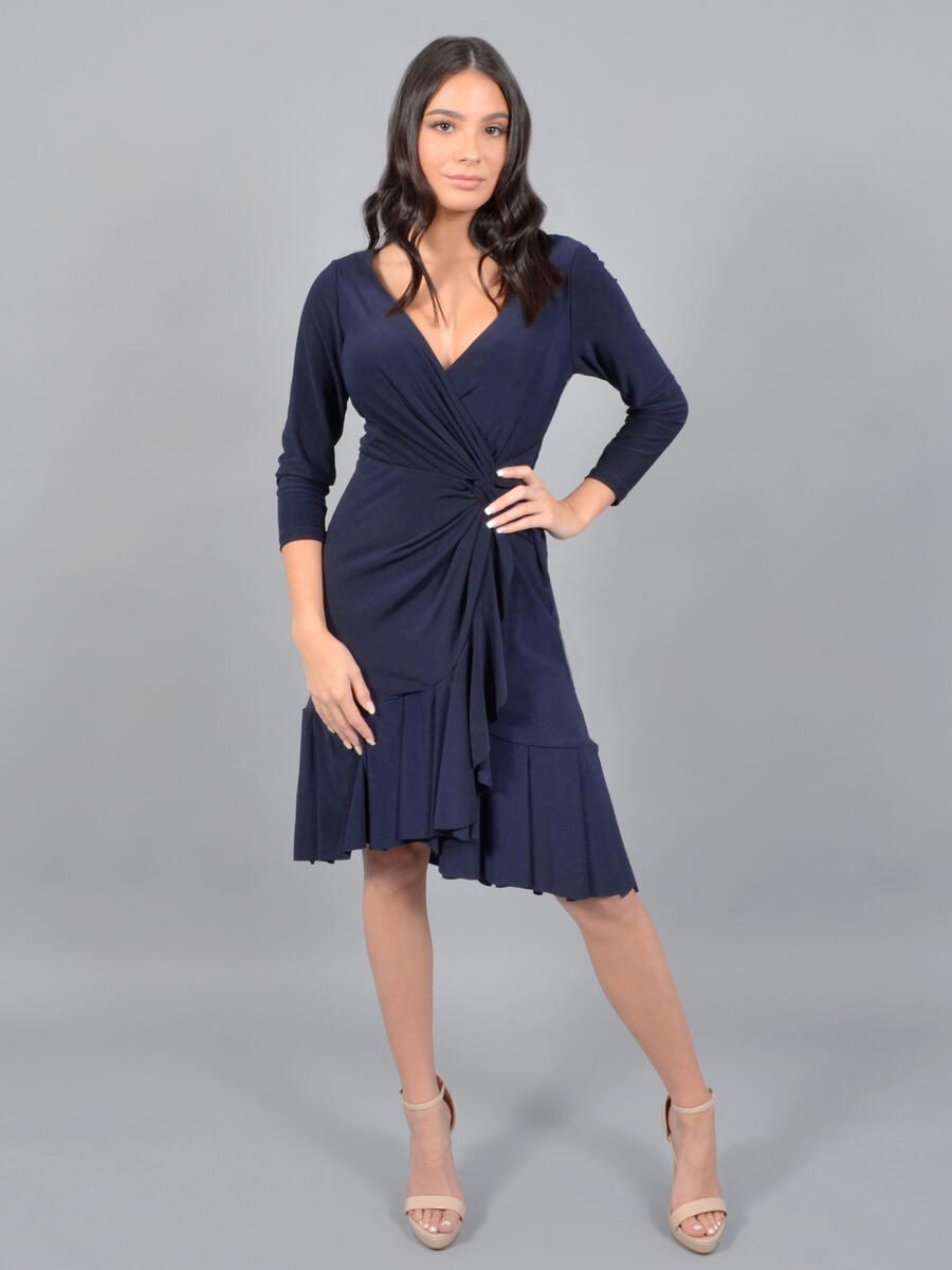 MARINA - Half Sleeve Jersey, V Neck, Wrap Dress
