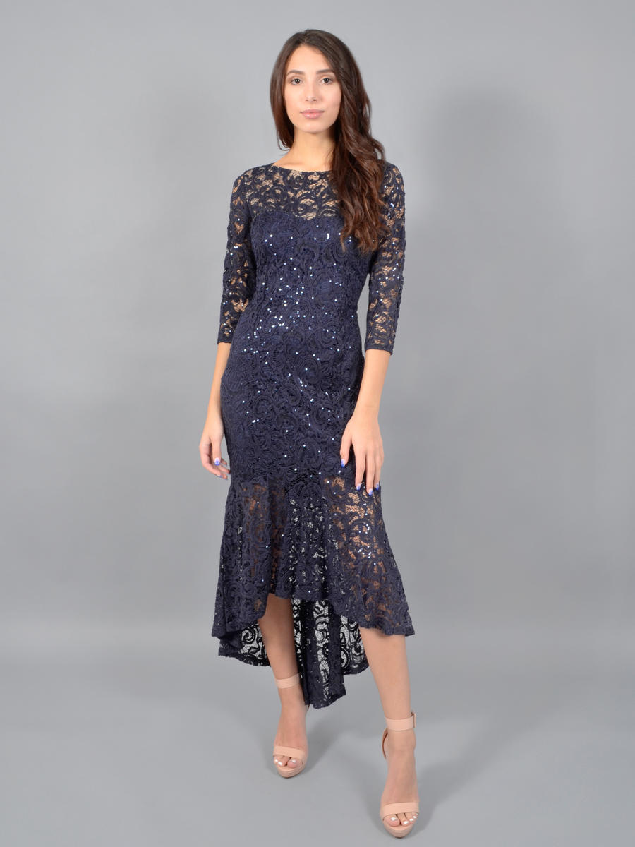 MARINA - Long Sleeve Metallic Lace Gown-Hilo