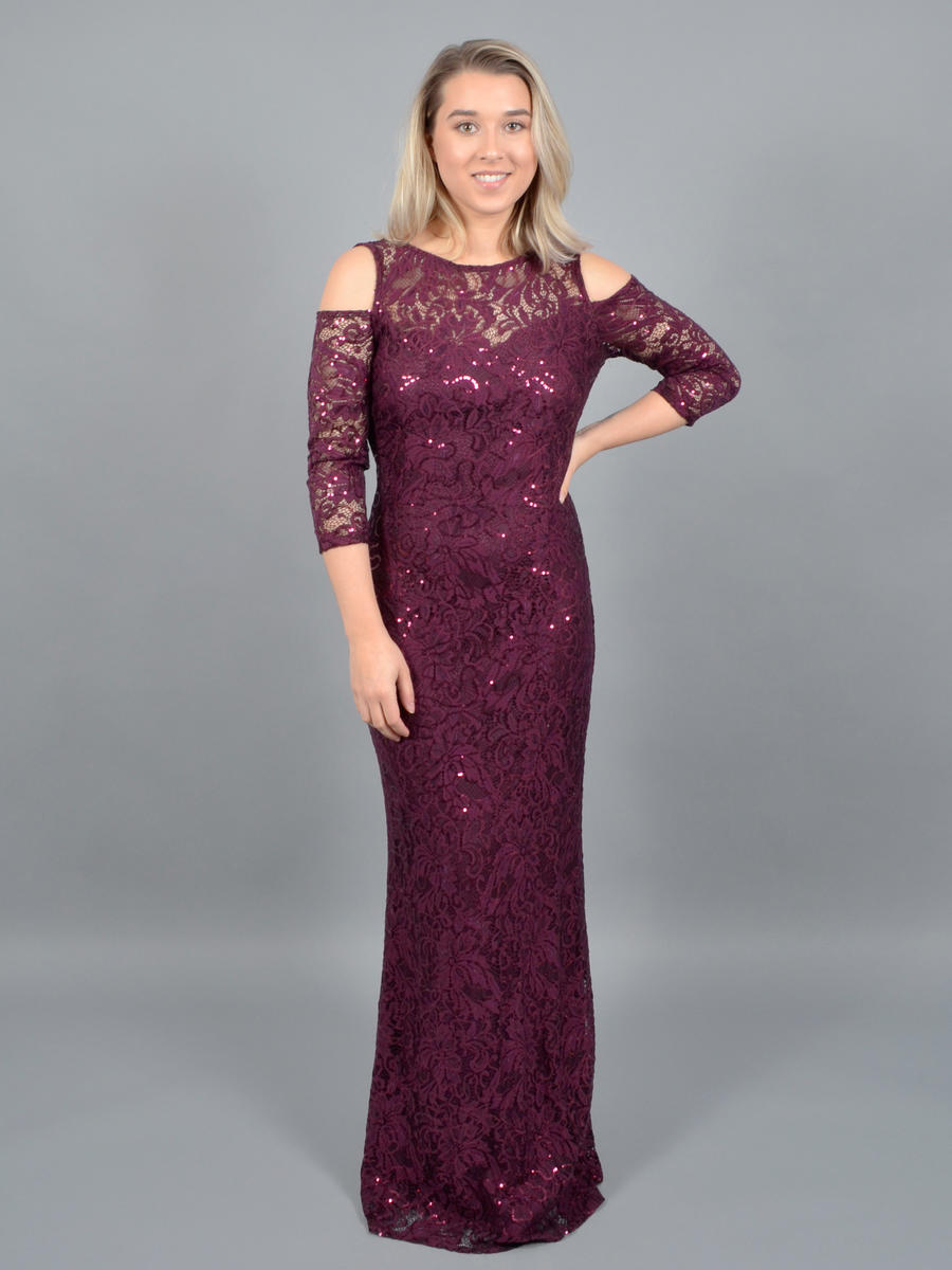 MARINA B - Open Long Sleeve Metlallic Lace Gown