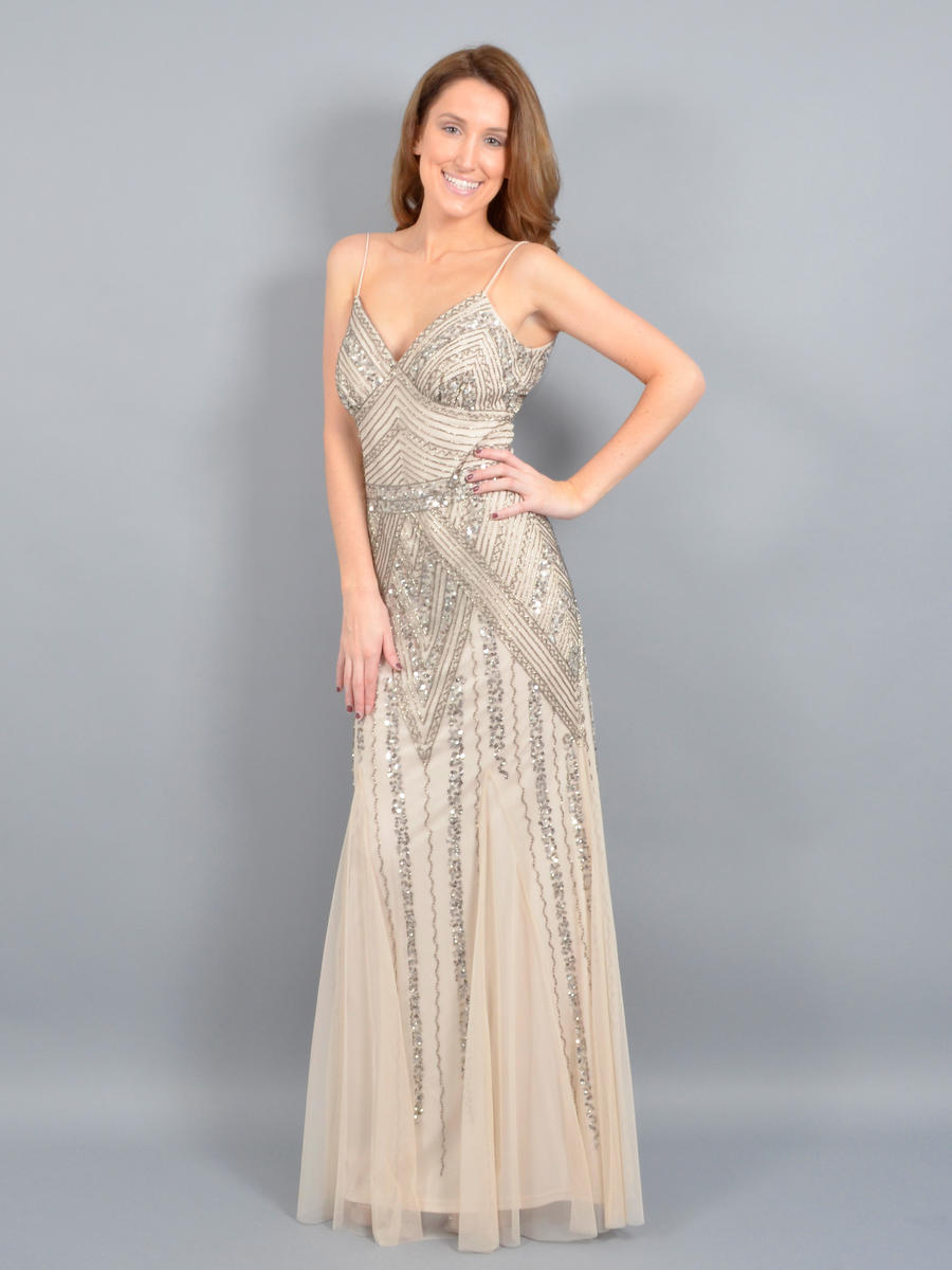 MARINA B - Beaded V-Neck Spaghetti Strap Gown