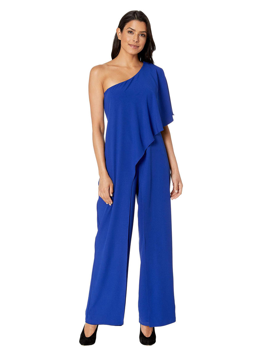 MARINA B - One-Shoulder Flyaway Jersey Jumpsuit