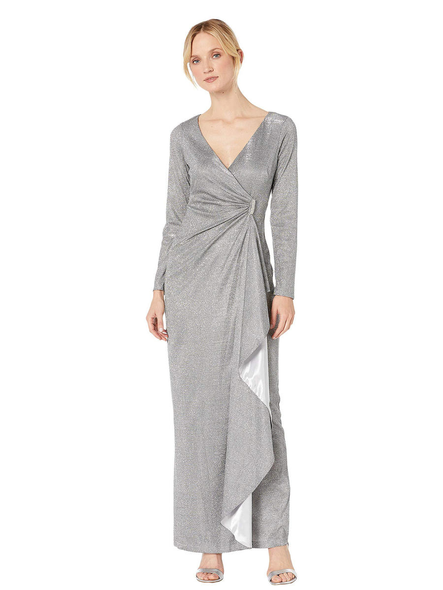 MARINA - Metallic Wrap Waist Long Sleeve Gown