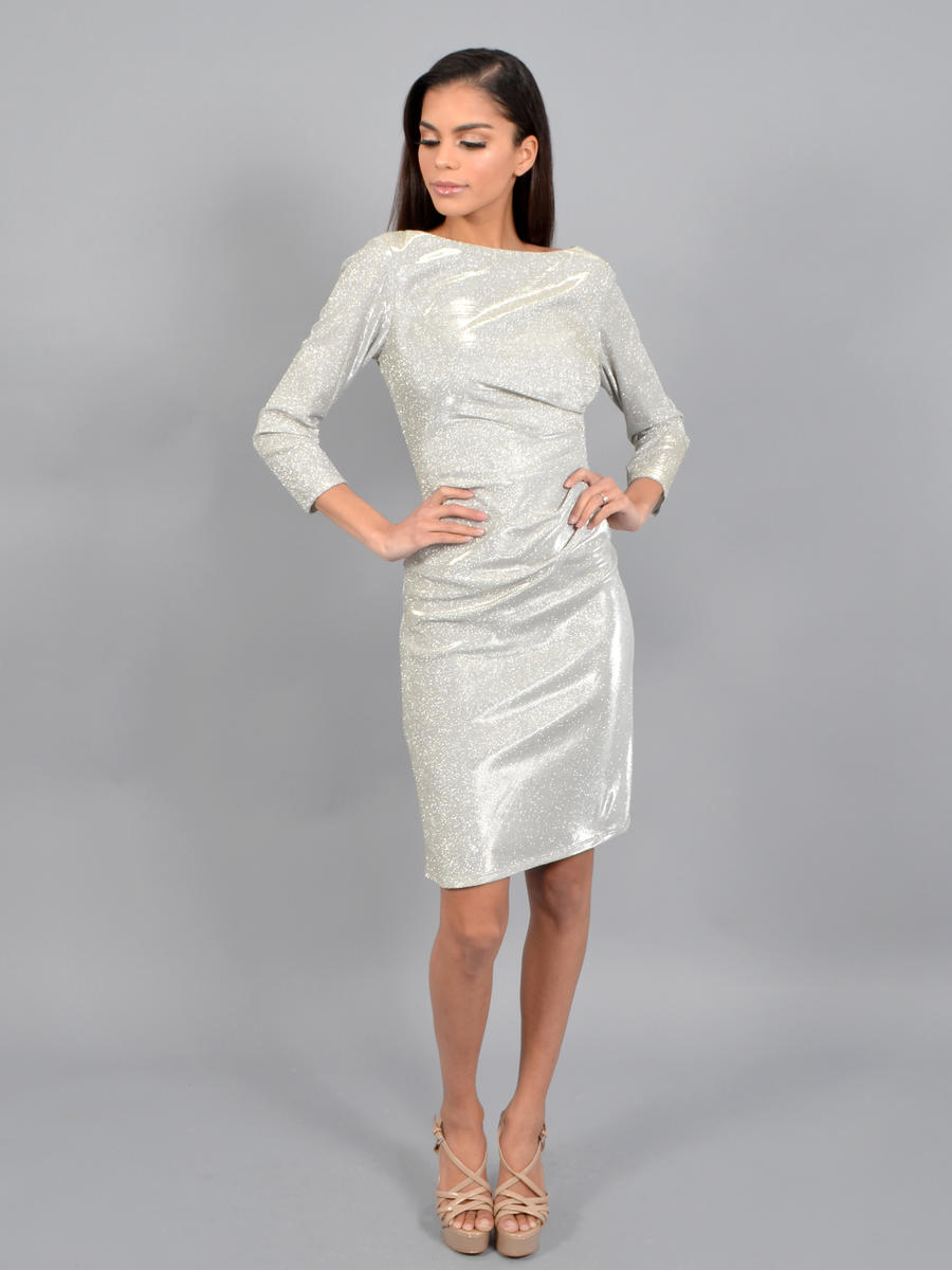 MARINA - Long Sleeve Metallic Dress