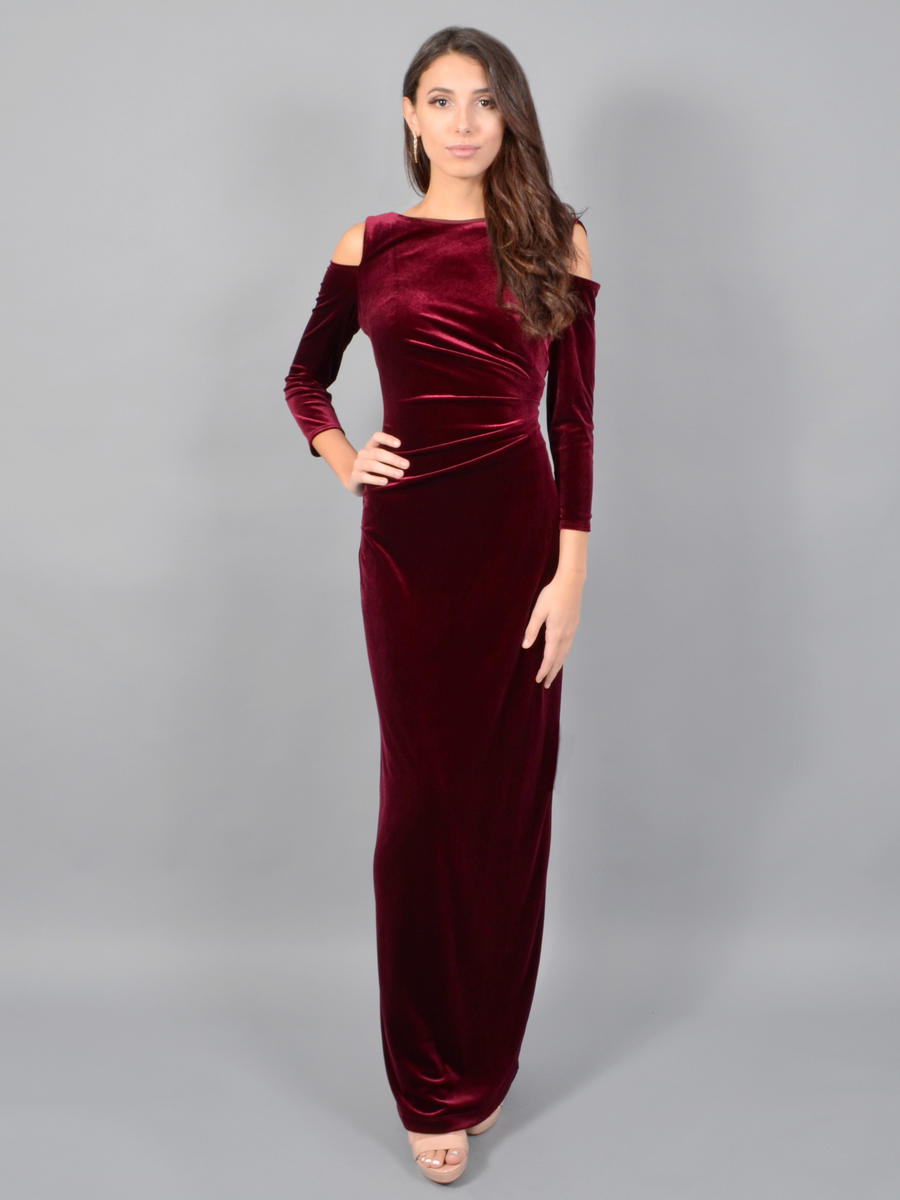 MARINA - Long Sleeve Cold Shoulder Velvet Gown