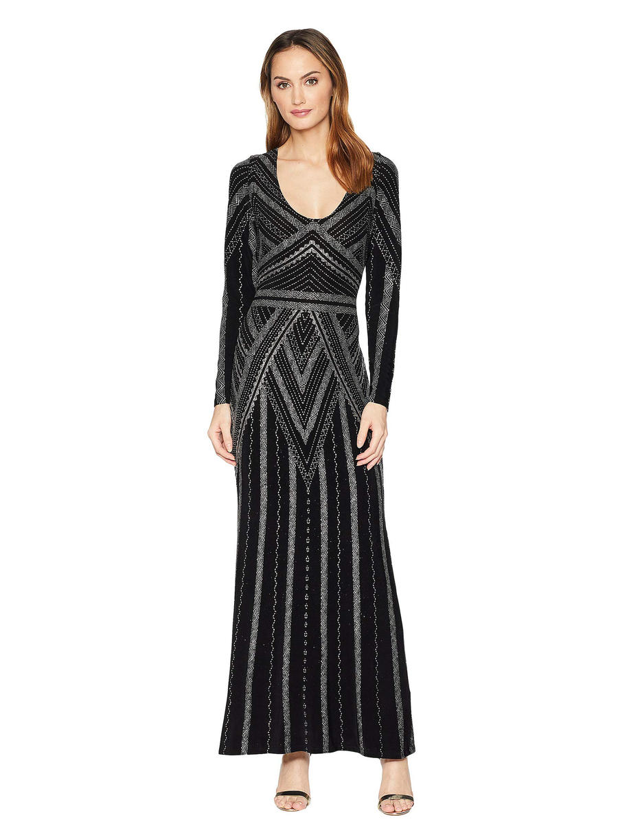 MARINA - Long Sleeve  Metallic Gown