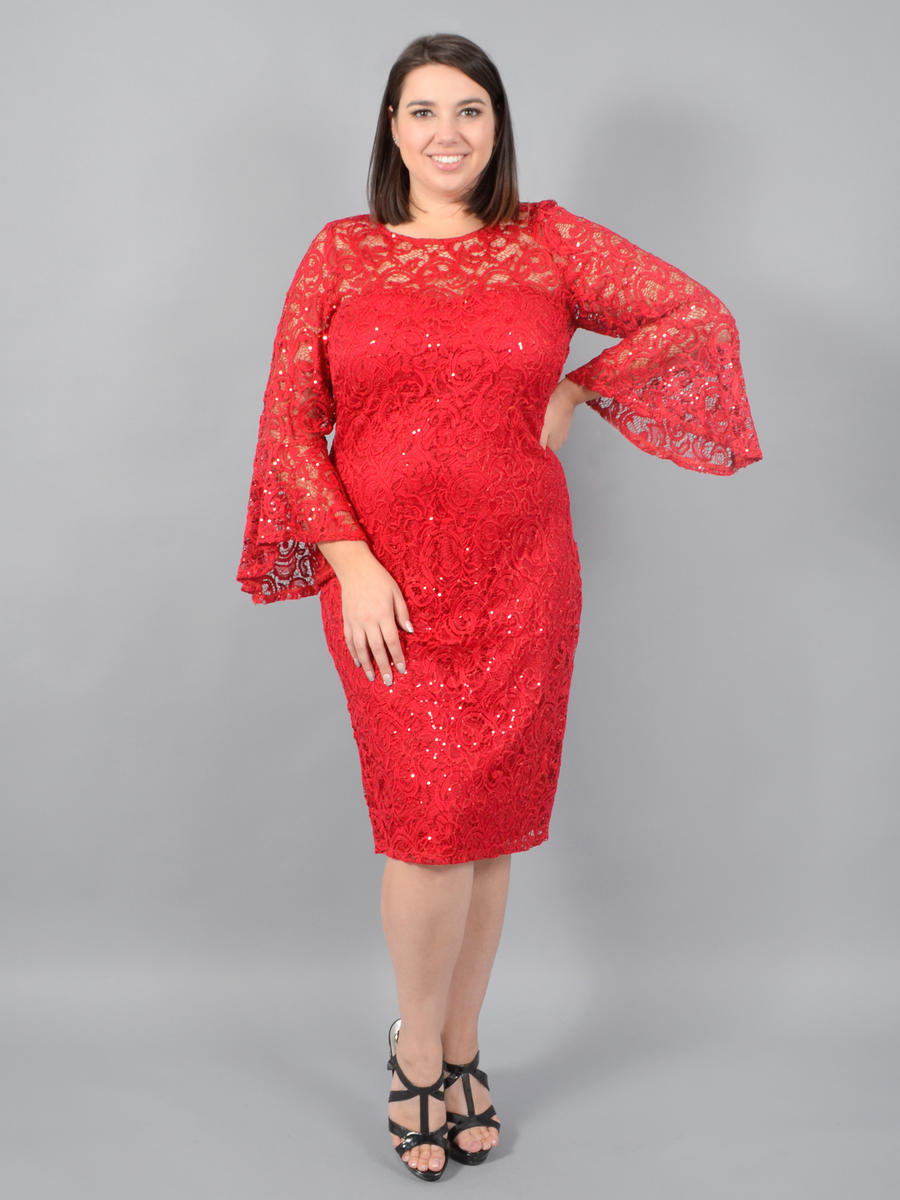 MARINA - Long Sleeve Metallic Lace Dress
