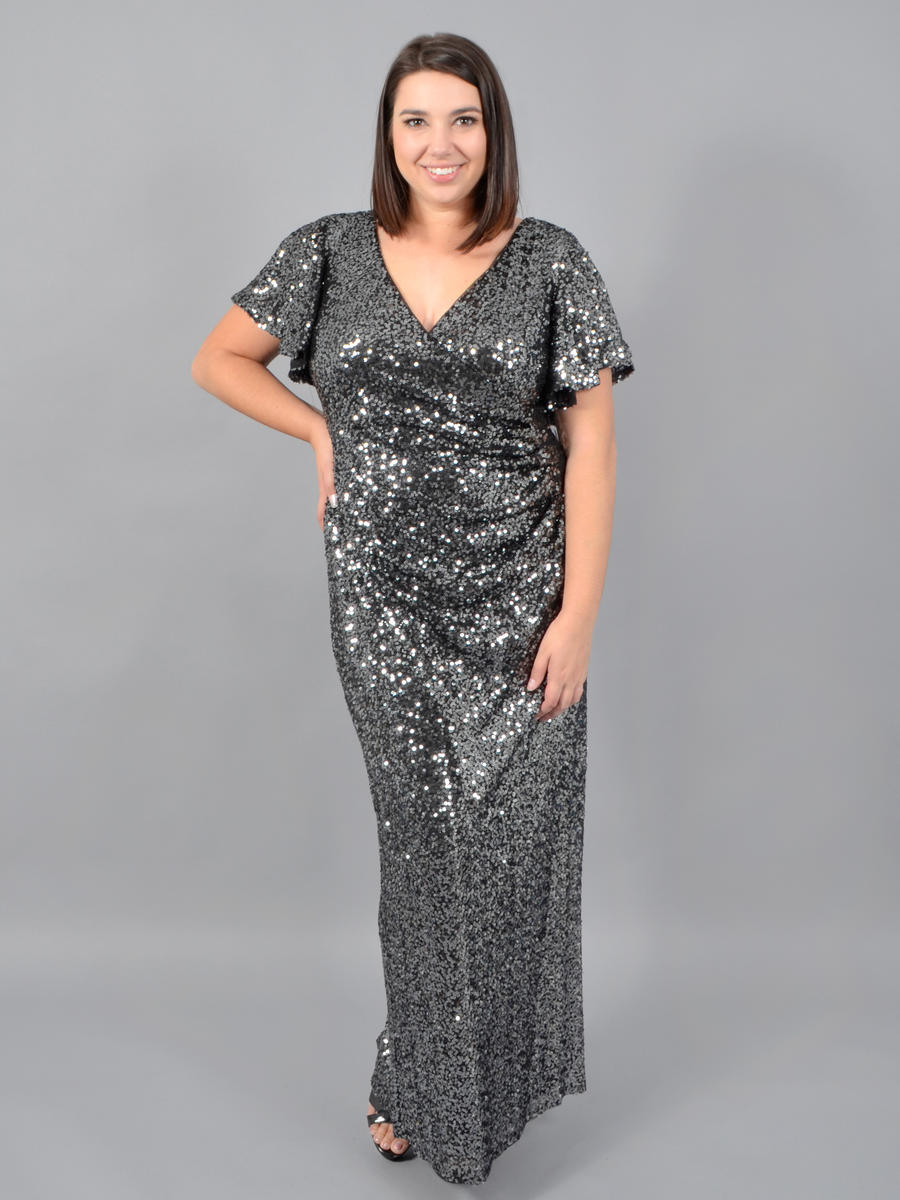 MARINA - Short Sleeve Sequin Wrap Gown 293542