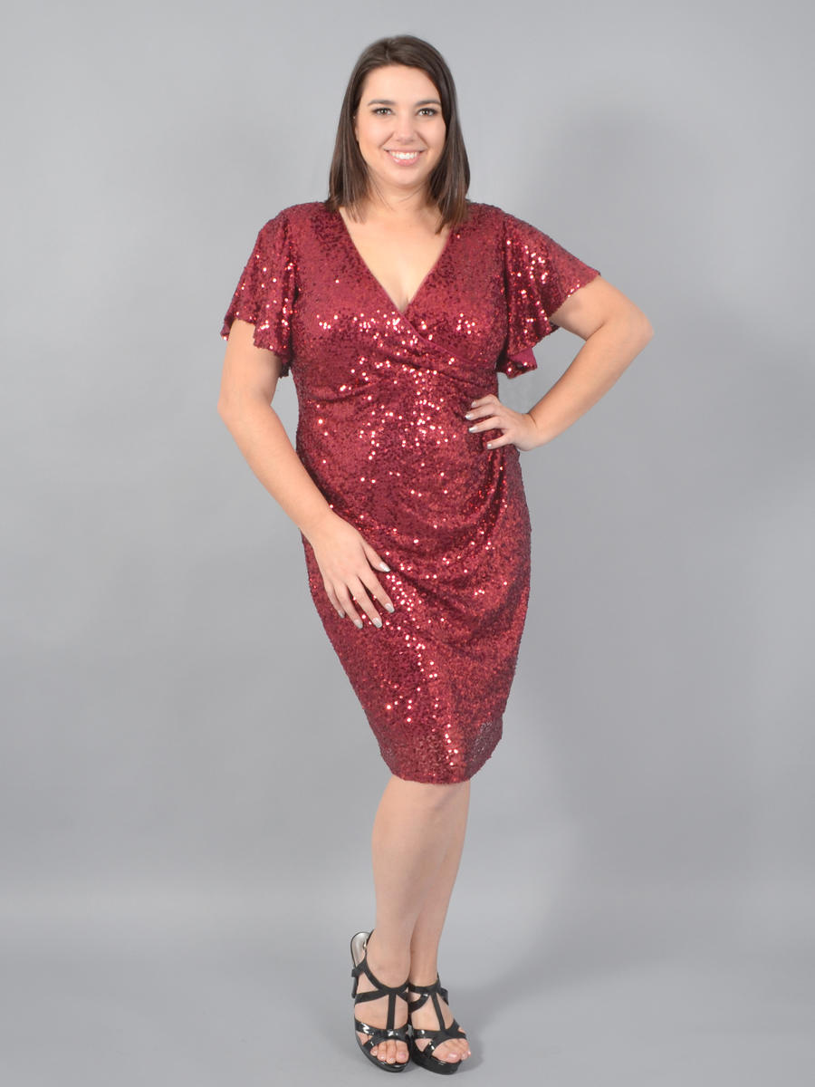 MARINA - Short Sleeve Sequin Wrap Dress