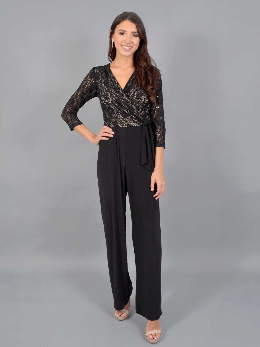 MARINA - Long Sleeve Jumpsuit- Lace Bodice