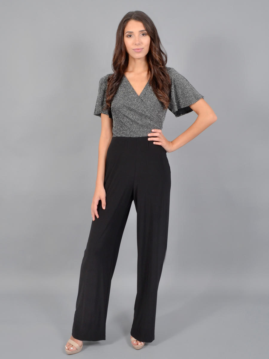 ONYX NITE - Short Sleeve Jumpsuit-Metallic Bodice