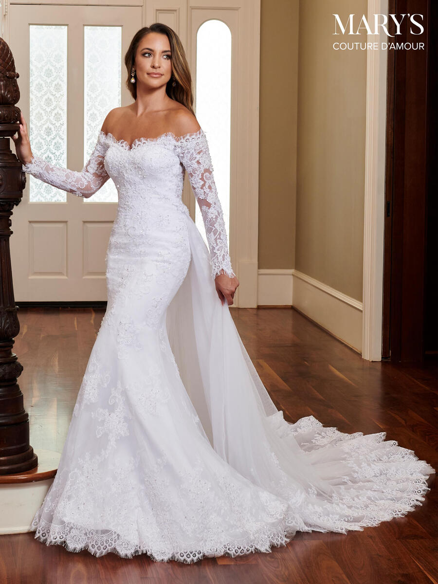 Marys Bridal - Off-Shoulder Long Sleeve Bridal Gown