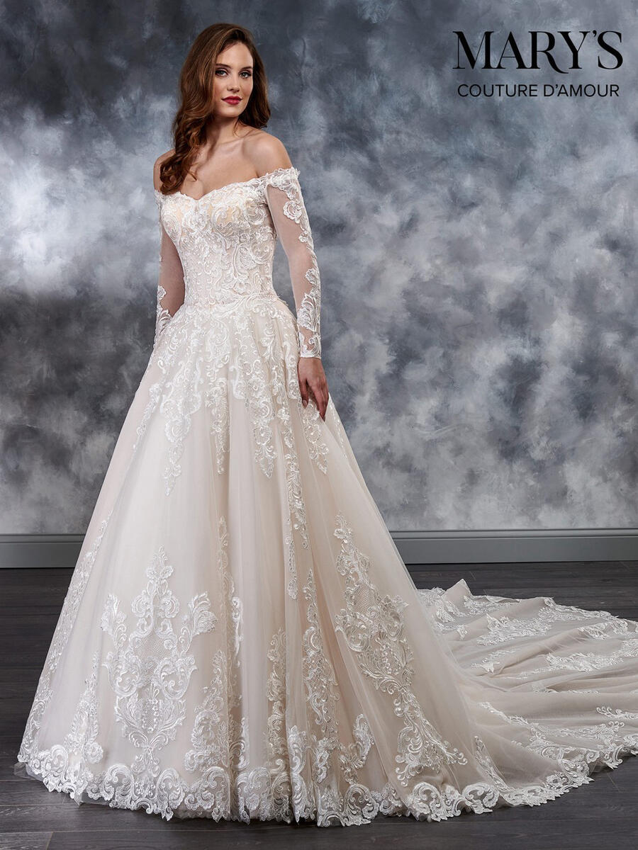Marys Bridal - Off-Shoulder Long Sleeve Embroidered Bridal Gown