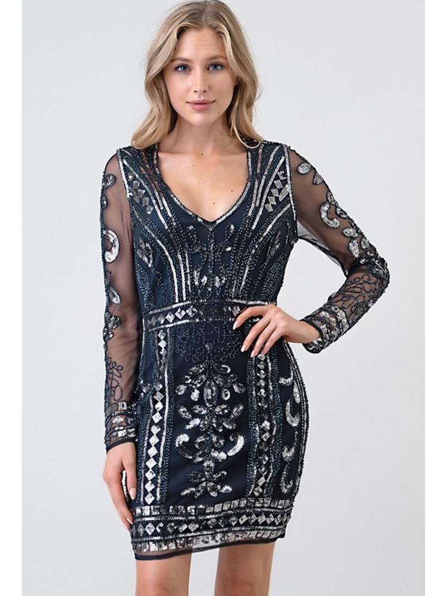 MINUET - Mesh Beaded Dress Long Sleeve
