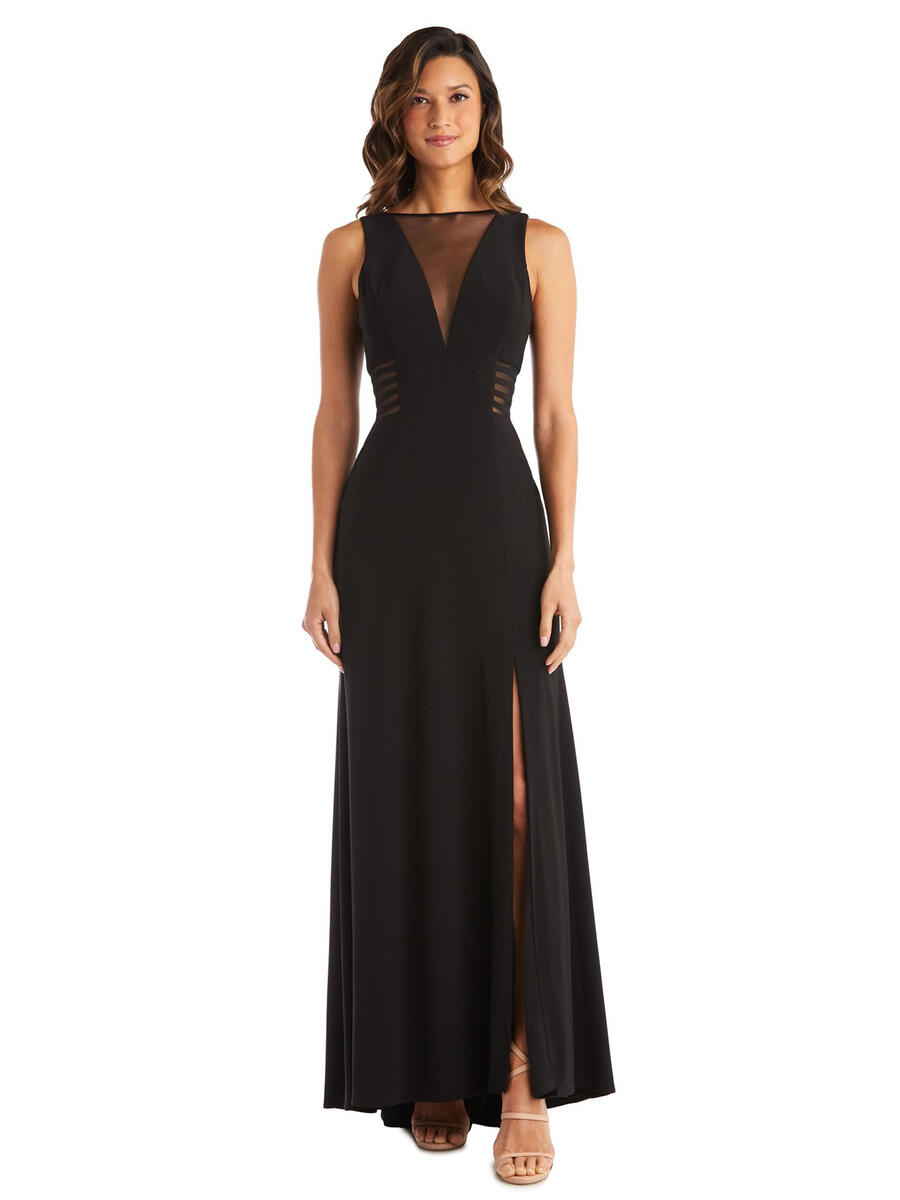 MORGAN & CO - Long Sheer Panel Jersey Gown with Side Slit