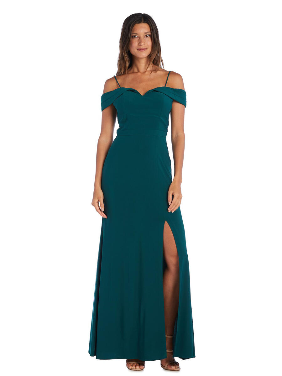 MORGAN & CO - Jersey Off-The-Shoulder Gown with Side Slit
