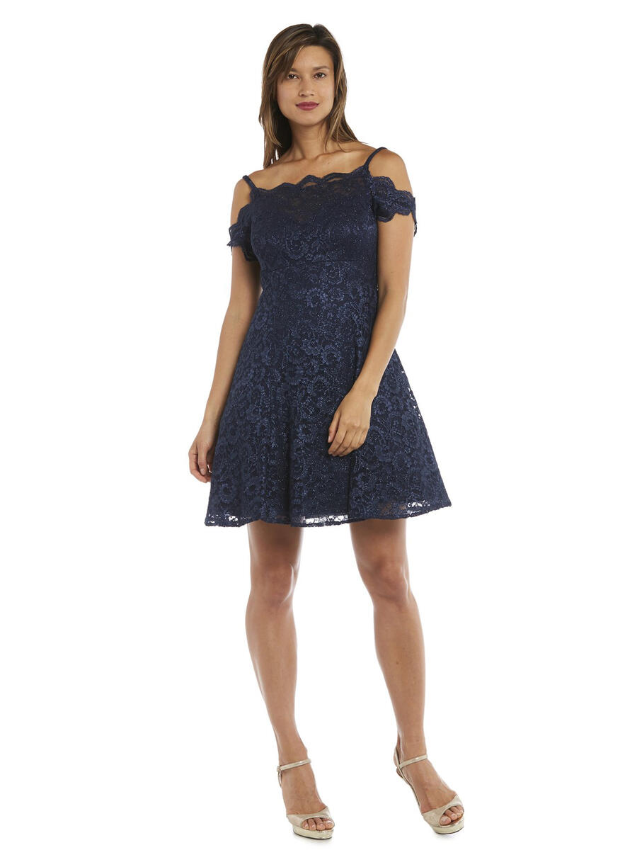 MORGAN & CO - Scalloped Lace Could Shoulder Fit & Flare Dress