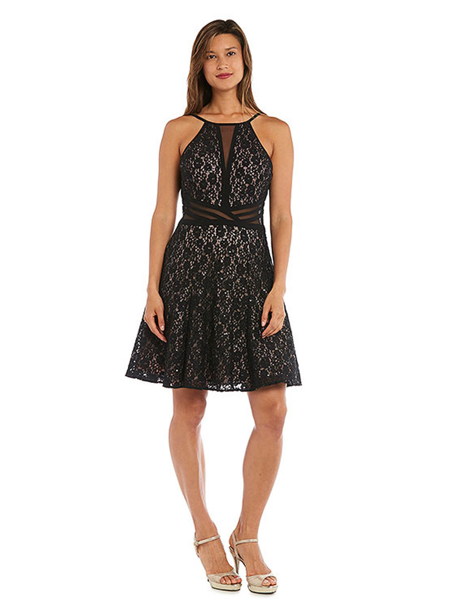 MORGAN & CO - Metallic Lace Dress Sheer Waist