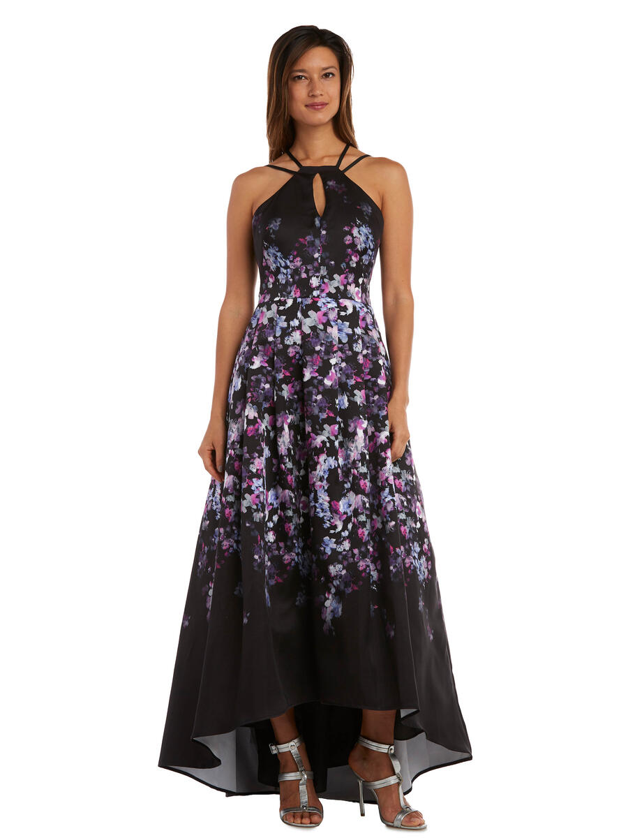 MORGAN & CO - Satin Print High Low Halter Gown