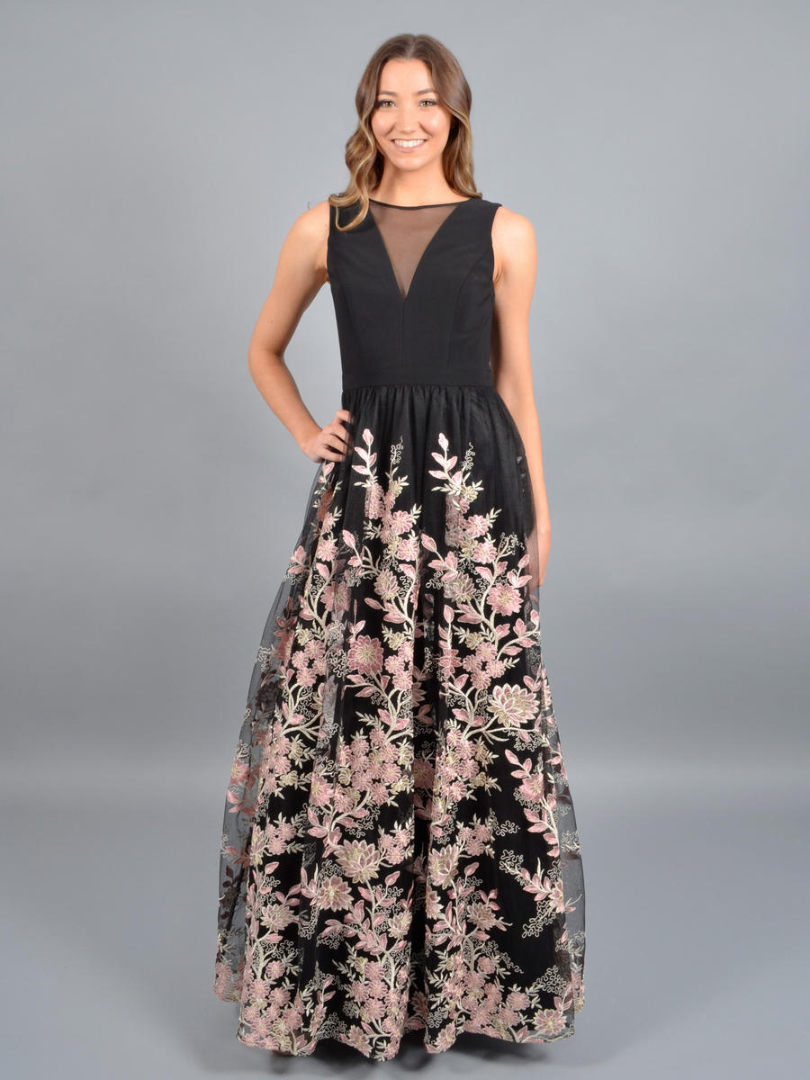 MORGAN & CO - Floral Embroidered A-Line Gown 12682