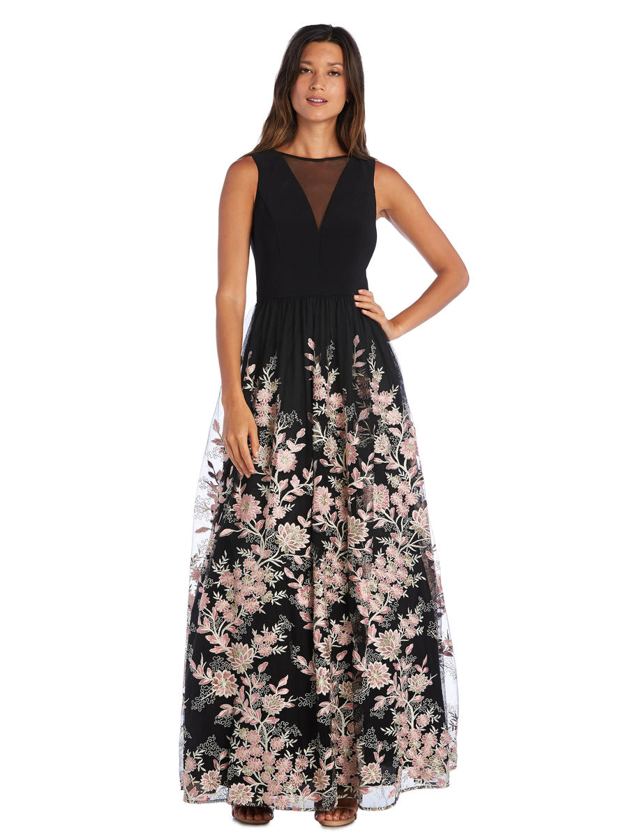 MORGAN & CO - Floral Embroidered A-Line Gown