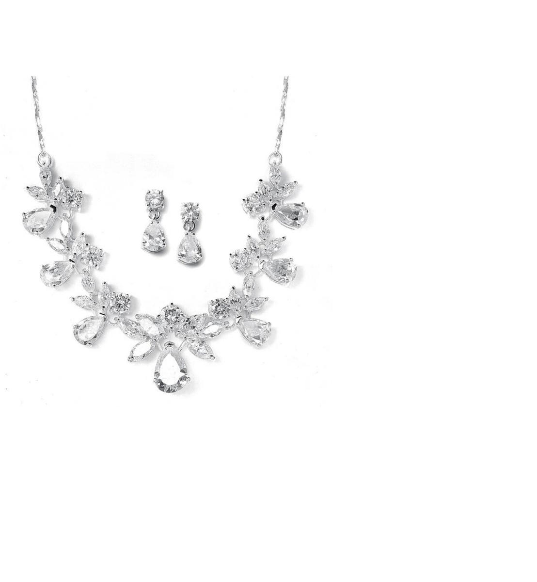 Cubic Zirconia Pear Shape Necklace Set